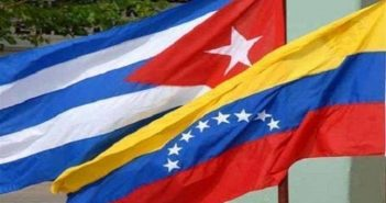 Flags of Cuba and Venezuela.