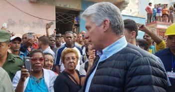 Cuban President visits affected municipality.