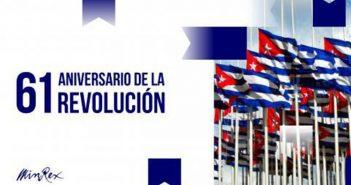 They congratulate Cuba on the anniversary of the triumph of Revolution
